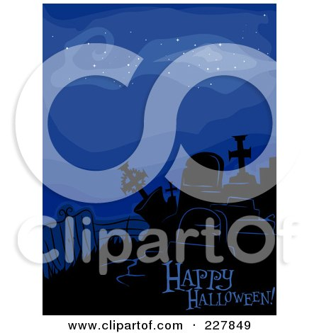 Royalty-Free (RF) Clipart Illustration of a Happy Halloween Greeting Under Spooky Tombstones Over Blue by BNP Design Studio