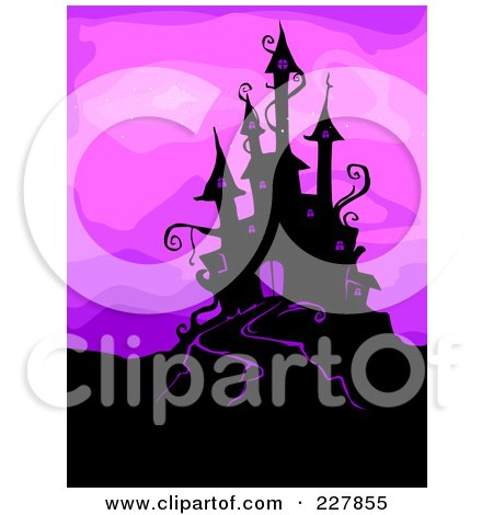 Royalty-Free (RF) Clipart Illustration of a Silhouetted Haunted Castle On A Hill Over Purple by BNP Design Studio