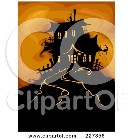 Royalty-Free (RF) Clipart Illustration of a Haunted House On A Hill Over Orange by BNP Design Studio