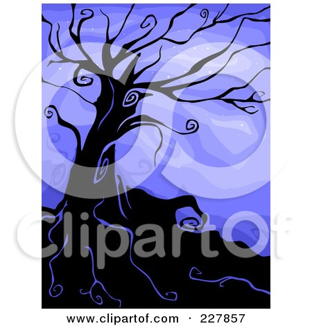 Royalty-Free (RF) Clipart Illustration of a Creepy Bare Tree On A Hill Against Blue by BNP Design Studio