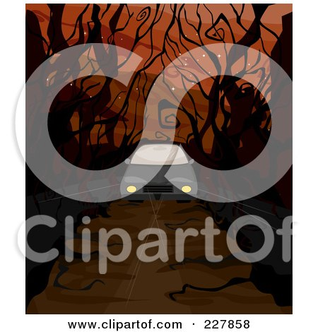 Royalty-Free (RF) Clipart Illustration of a Car Driving Down A Creepy Road With Bare Trees by BNP Design Studio