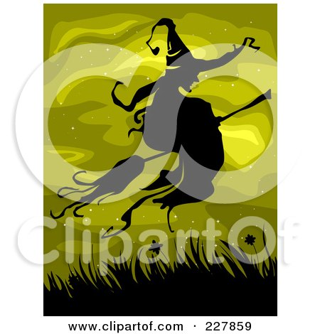 Royalty-Free (RF) Clipart Illustration of a Silhouetted Witch Flying Over Grasses On Green by BNP Design Studio