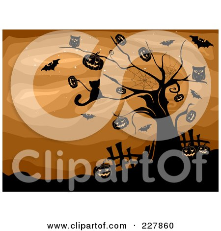 Royalty-Free (RF) Clipart Illustration of a Cat, Pumpkins, Owls And Bats In A Spooky Tree Over Brown by BNP Design Studio