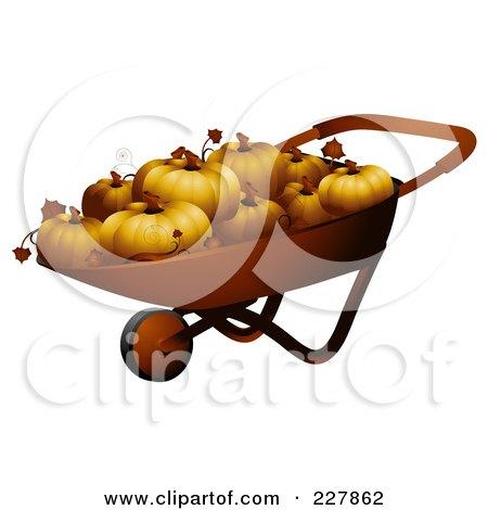Royalty-Free (RF) Clipart Illustration of a Wheel Barrow Full Of Pumpkins by BNP Design Studio