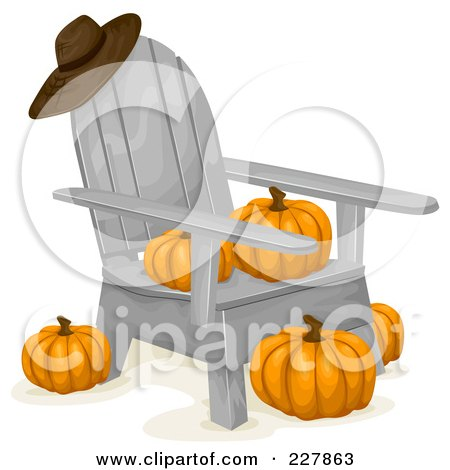 Royalty-Free (RF) Clipart Illustration of a Hat Resting On A Wooden Chair With Pumpkins by BNP Design Studio