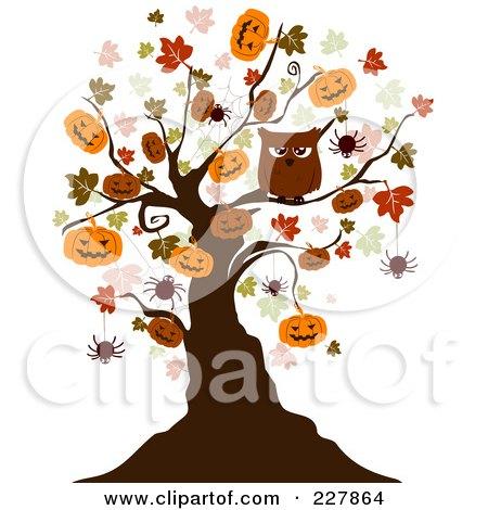 Royalty-Free (RF) Clipart Illustration of a Creepy Tree Of Owls, Bats And Jackolanterns by BNP Design Studio