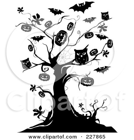 Royalty-Free (RF) Clipart Illustration of a Creepy Black And White Tree Of Owls, Bats And Jackolanterns by BNP Design Studio
