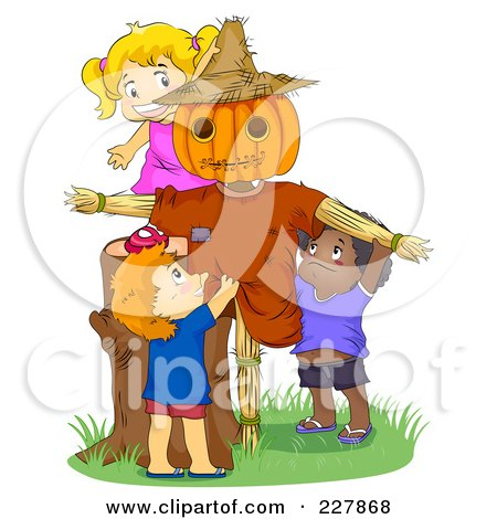 Royalty-Free (RF) Clipart Illustration of Cute Kids Playing By A Scarecrow by BNP Design Studio