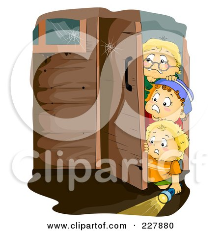 Royalty-Free (RF) Clipart Illustration of Little Boys Walking Into A Haunted House by BNP Design Studio