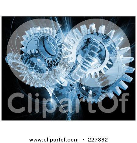 Blue Mechanical Gears Over A Blue Fractal On Black Posters, Art Prints