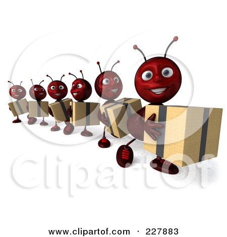Royalty-Free (RF) Clipart Illustration of a Line Of 3d Ants Carrying Boxes - 2 by Julos