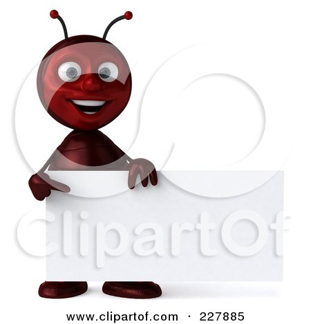 Royalty-Free (RF) Clipart Illustration of a 3d Ant Holding A Blank Sign - 2 by Julos