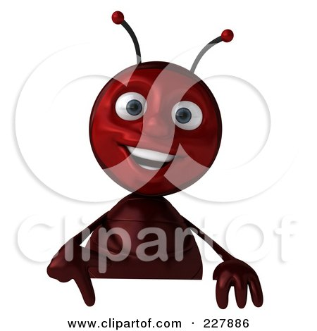 Royalty-Free (RF) Clipart Illustration of a 3d Ant Holding A Blank Sign - 1 by Julos
