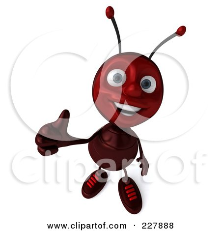 Royalty-Free (RF) Clipart Illustration of a 3d Ant Holding A Thumbs Up by Julos