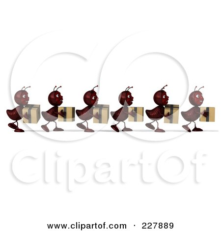 Royalty-Free (RF) Clipart Illustration of a Line Of 3d Ants Carrying Boxes - 1 by Julos