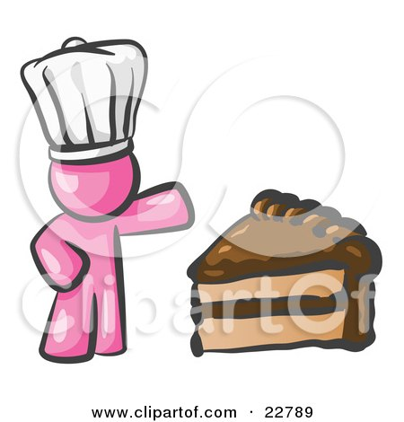 Clipart Illustration of a Pink Chef Man Wearing A White Hat And Presenting A Tasty Slice Of Chocolate Frosted Cake by Leo Blanchette