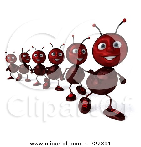 Royalty-Free (RF) Clipart Illustration of a 3d Line Of Ants Marching - 2 by Julos