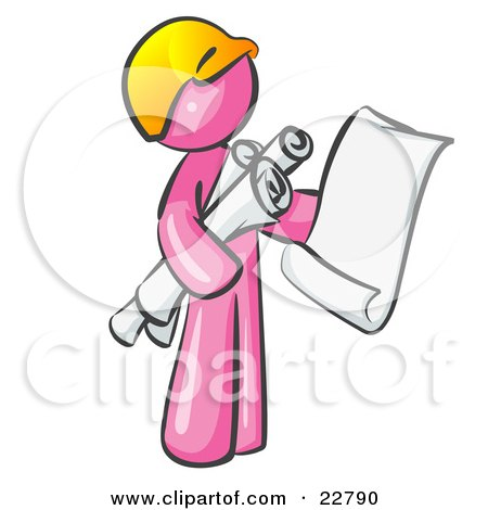 Clipart Illustration of a Pink Man Contractor Or Architect Holding Rolled Blueprints And Designs And Wearing A Hardhat by Leo Blanchette