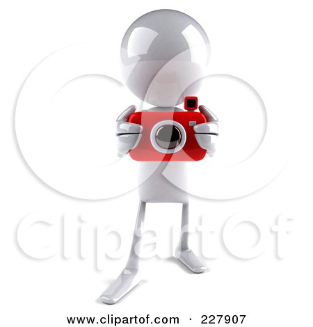Royalty-Free (RF) Clipart Illustration of a 3d White Bob Character Taking Pictures - 2 by Julos