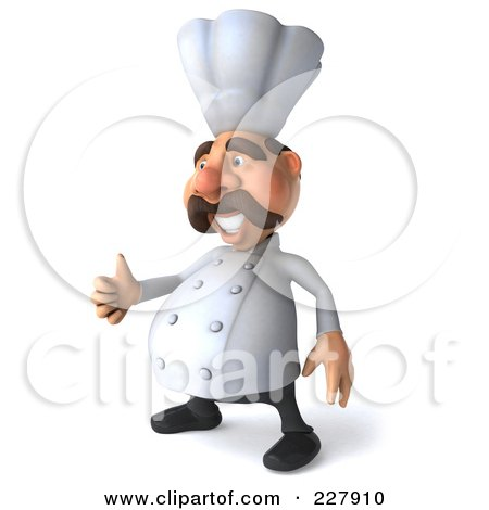 Royalty-Free (RF) Clipart Illustration of a 3d Chef Man Facing Left With A Thumbs Up by Julos