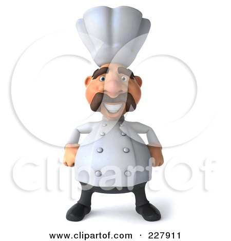 Royalty-Free (RF) Clipart Illustration of a 3d Chef Man With His Hands On His Hips by Julos