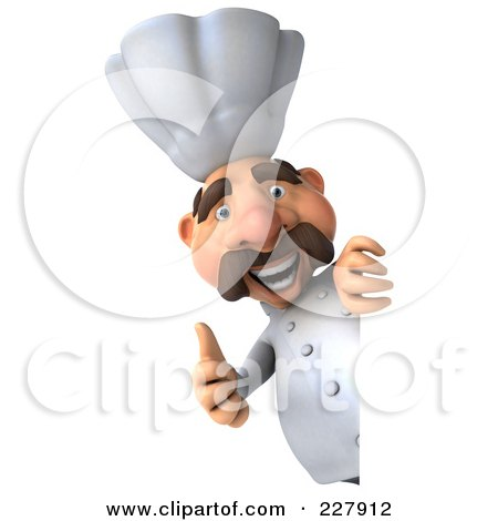 Royalty-Free (RF) Clipart Illustration of a 3d Chef Man With A Thumb Up Around A Blank Sign by Julos