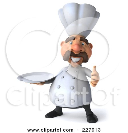 Royalty-Free (RF) Clipart Illustration of a 3d Chef Man Facing Front With A Platter And Thumbs Up by Julos