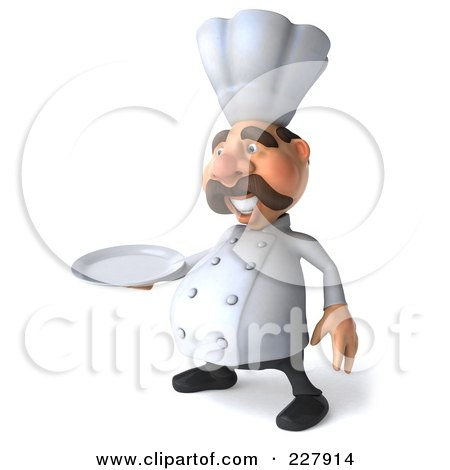 Royalty-Free (RF) Clipart Illustration of a 3d Chef Man Facing Left With A Platter by Julos