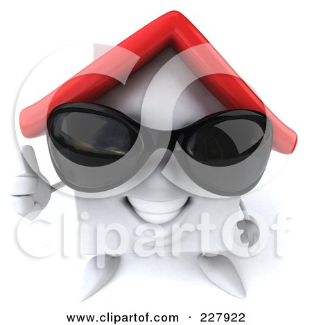 Royalty-Free (RF) Clipart Illustration of a 3d White Clay Home Wearing Shades And Holding A Thumb Up by Julos
