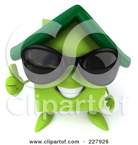 Royalty-Free (RF) Clipart Illustration of a 3d Green Clay Home Wearing Shades And Holding A Thumb Up by Julos