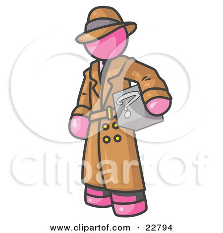 Clipart Illustration of a Secretive Pink Man in a Trench Coat and Hat, Carrying a Box With a Question Mark on it by Leo Blanchette
