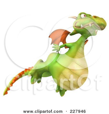 Royalty-Free (RF) Clipart Illustration of a 3d Dragon Flying by Julos