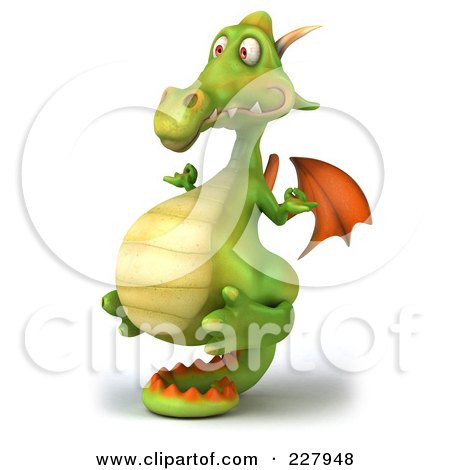 Royalty-Free (RF) Clipart Illustration of a 3d Dragon Balanced On His Tail - 2 by Julos