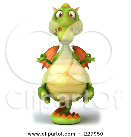 Royalty-Free (RF) Clipart Illustration of a 3d Dragon Balanced On His Tail - 1 by Julos