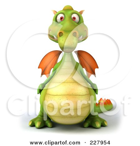 Royalty-Free (RF) Clipart Illustration of a 3d Dragon Facing Front by Julos