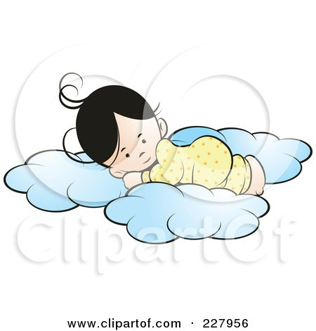 Royalty-Free (RF) Clipart Illustration of a Girl Sleeping On Soft Clouds by Lal Perera
