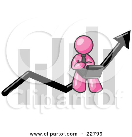 Clipart Illustration of a Pink Man Conducting Business On A Laptop Computer On An Arrow Moving Upwards In Front Of A Bar Graph, Symbolizing Success by Leo Blanchette