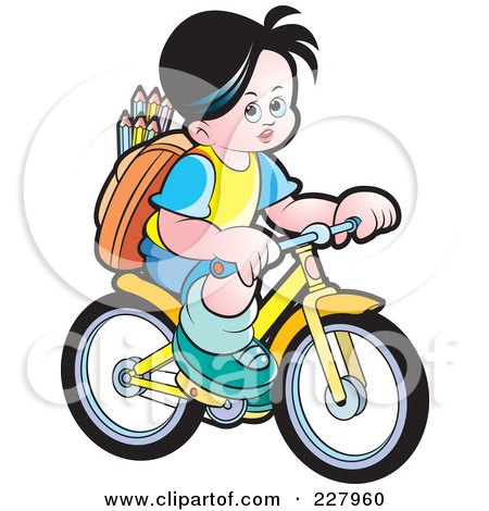 Royalty-Free (RF) Clipart Illustration of a School Boy Riding A Bicycle by Lal Perera