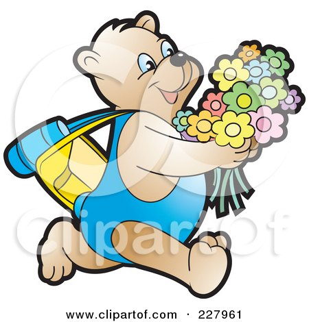 Royalty-Free (RF) Clipart Illustration of a Happy Bear Running With Flowers by Lal Perera