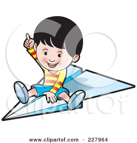 Royalty-Free (RF) Clipart Illustration of a Happy Boy Riding A Paper Airplane by Lal Perera