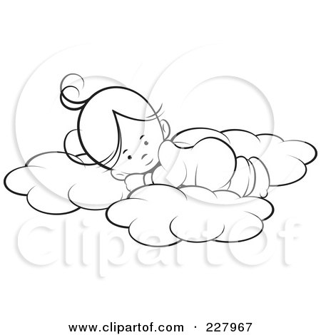 Royalty-Free (RF) Clipart Illustration of a Coloring Page Outline Of A Cute Girl Sleeping On Soft Clouds by Lal Perera