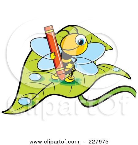 Royalty-Free (RF) Clipart Illustration of a Cute Bee Holding A Red Crayon On A Wet Leaf by Lal Perera
