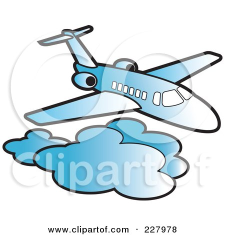Royalty-Free (RF) Clipart Illustration of a Blue Airliner Above Clouds by Lal Perera