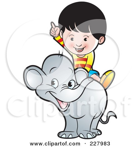 Royalty-Free (RF) Clipart Illustration of a Boy Riding A Cute Elephant by Lal Perera