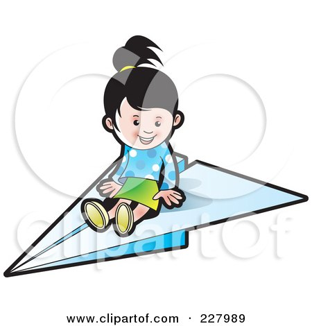 Royalty-Free (RF) Clipart Illustration of a Cute Girl On A Paper Airplane by Lal Perera