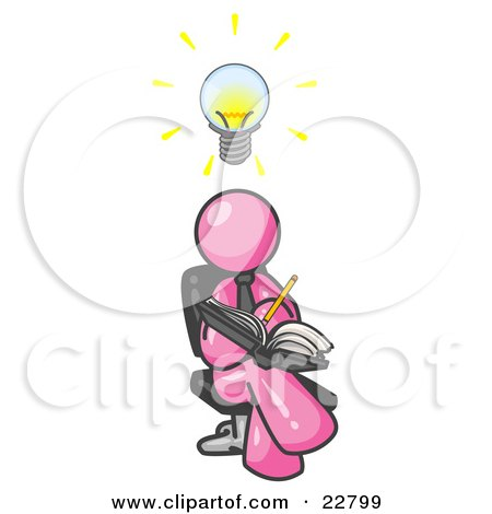 Clipart Illustration of a Smart Pink Man Seated With His Legs Crossed, Brainstorming and Writing Ideas Down in a Notebook, Lightbulb Over His Head by Leo Blanchette