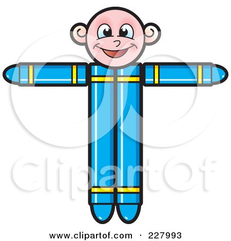Royalty-Free (RF) Clipart Illustration of a Crayon Boy Holding His Arms Up by Lal Perera
