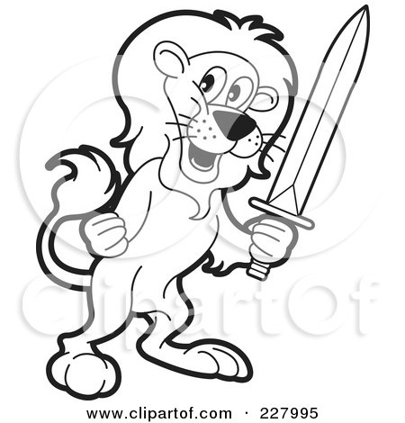 Royalty-Free (RF) Clipart Illustration of a Coloring Page Outline Of A Lion Holding A Sword by Lal Perera