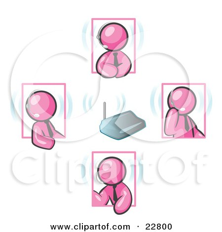 Clipart Illustration of Pink Men Holding A Phone Meeting And Wearing Wireless Headsets by Leo Blanchette