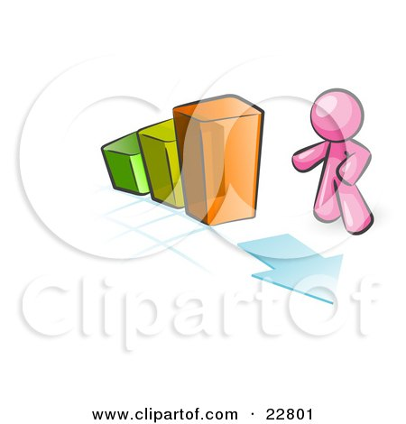 Clipart Illustration of a Pink Man Standing By An Increasing Green, Yellow And Orange Bar Graph On A Grid Background With An Arrow by Leo Blanchette